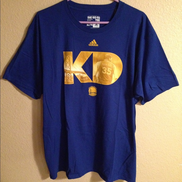 Kevin Durant NBA Golden State Warriors Basketball Adidas Cotton Gray Go-To Tee